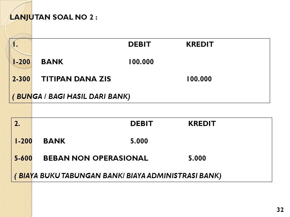 LANJUTAN SOAL NO 2 : 1. DEBIT KREDIT. 1-200 BANK 100.000. 2-300 TITIPAN DANA ZIS 100.000.