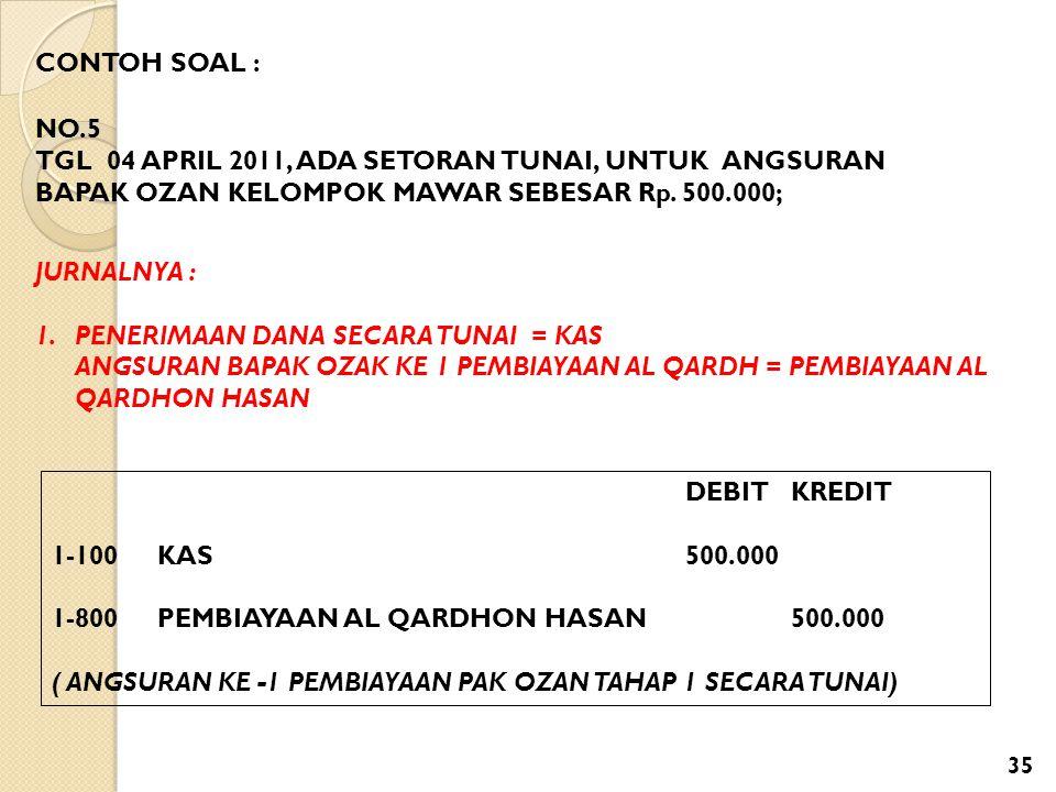 CONTOH SOAL : NO.5. TGL 04 APRIL 2011, ADA SETORAN TUNAI, UNTUK ANGSURAN BAPAK OZAN KELOMPOK MAWAR SEBESAR Rp. 500.000;