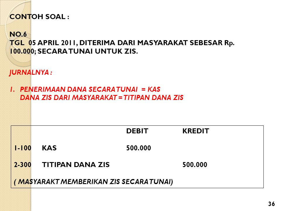 CONTOH SOAL : NO.6. TGL 05 APRIL 2011, DITERIMA DARI MASYARAKAT SEBESAR Rp. 100.000; SECARA TUNAI UNTUK ZIS.