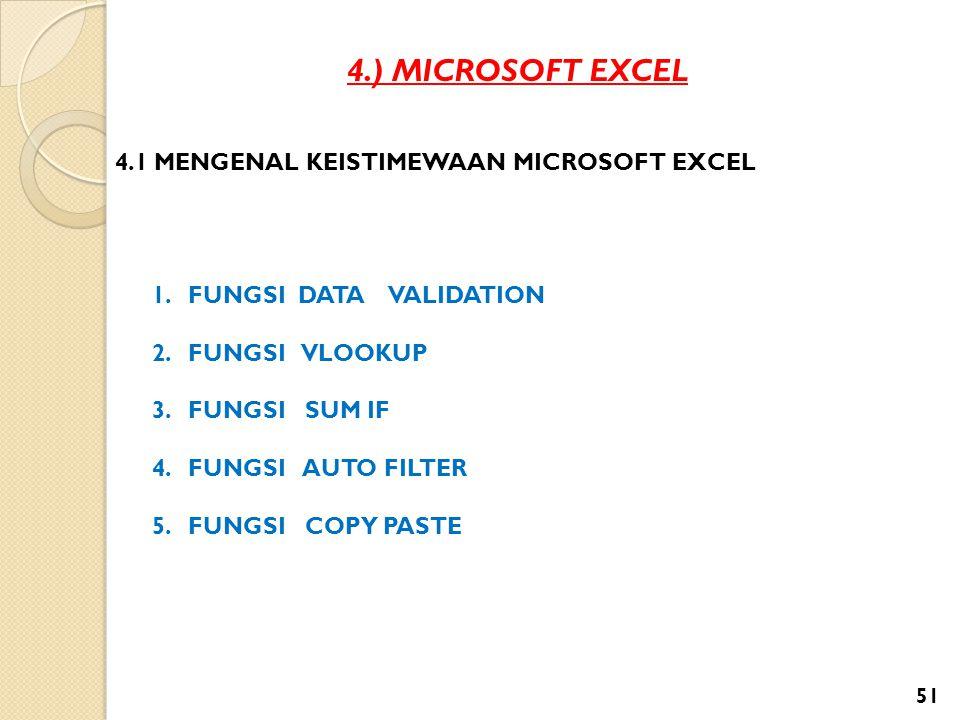 4.) MICROSOFT EXCEL 4.1 MENGENAL KEISTIMEWAAN MICROSOFT EXCEL