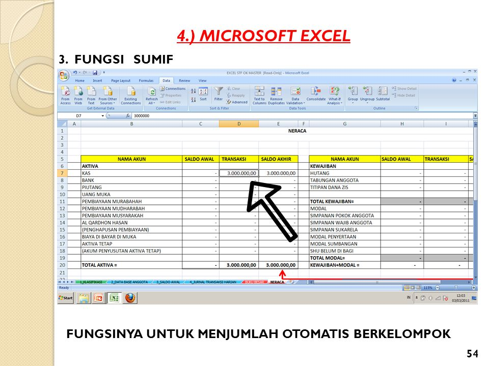 4.) MICROSOFT EXCEL 3. FUNGSI SUMIF