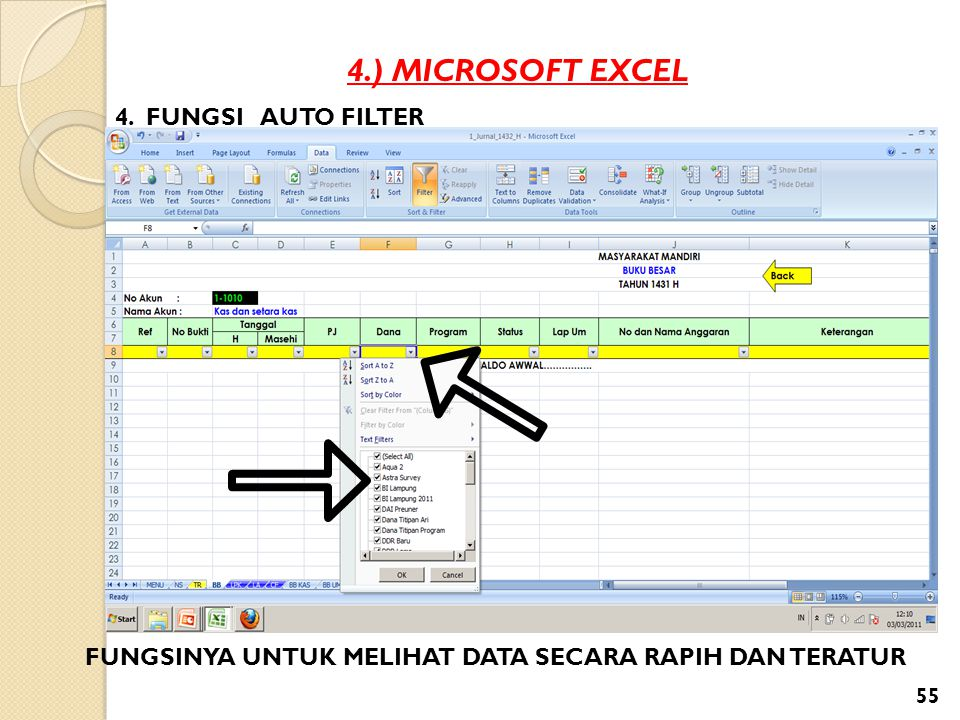 4.) MICROSOFT EXCEL 4. FUNGSI AUTO FILTER