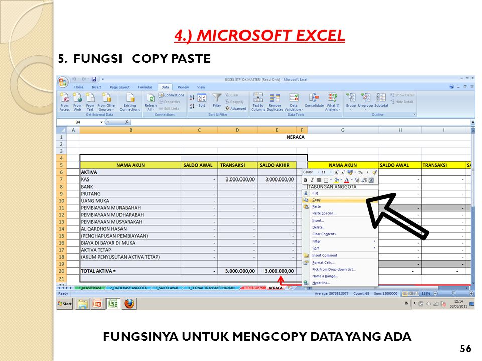 4.) MICROSOFT EXCEL 5. FUNGSI COPY PASTE