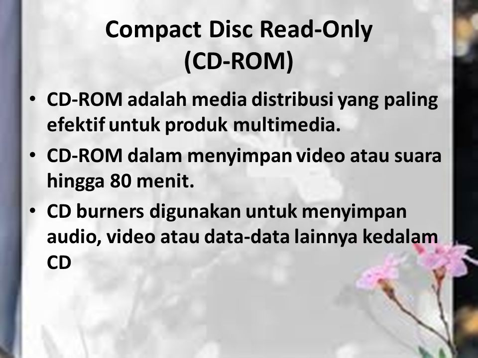 Compact Disc Read-Only (CD-ROM)