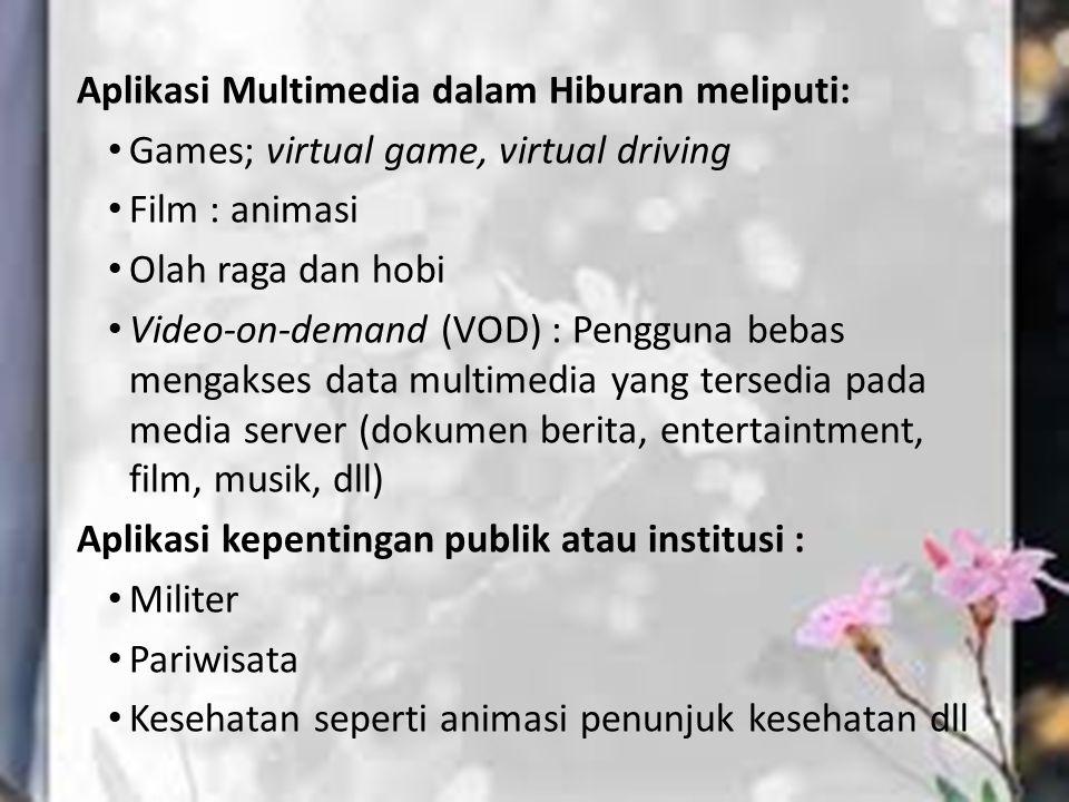 Aplikasi Multimedia dalam Hiburan meliputi: