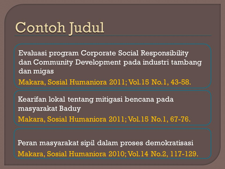 Contoh Judul Evaluasi program Corporate Social Responsibility
