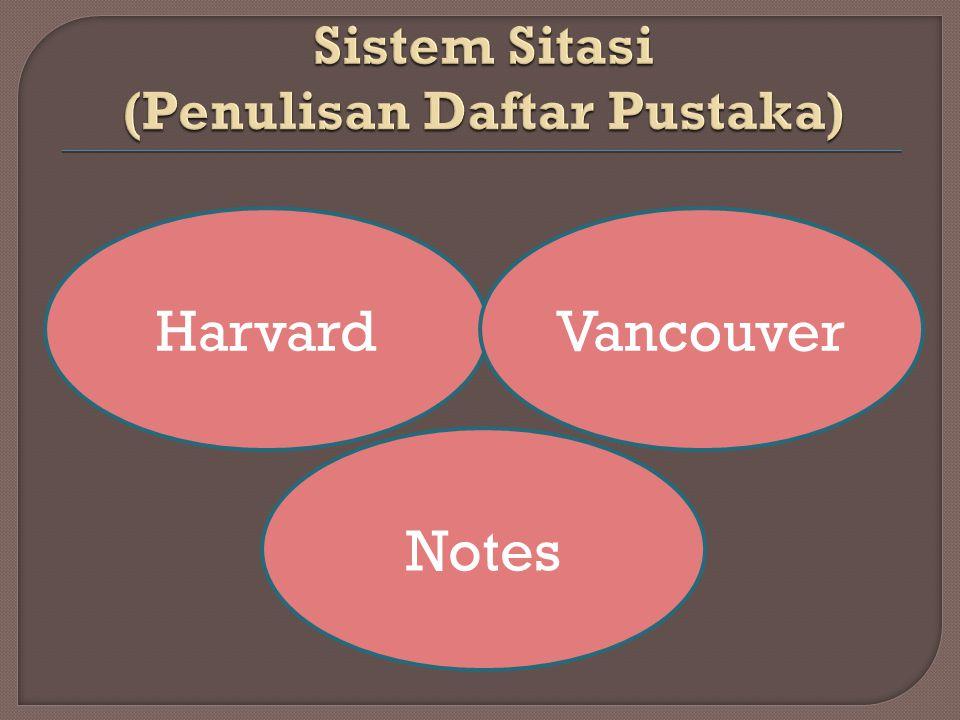 Sistem Sitasi (Penulisan Daftar Pustaka)