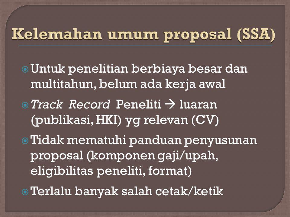 Kelemahan umum proposal (SSA)