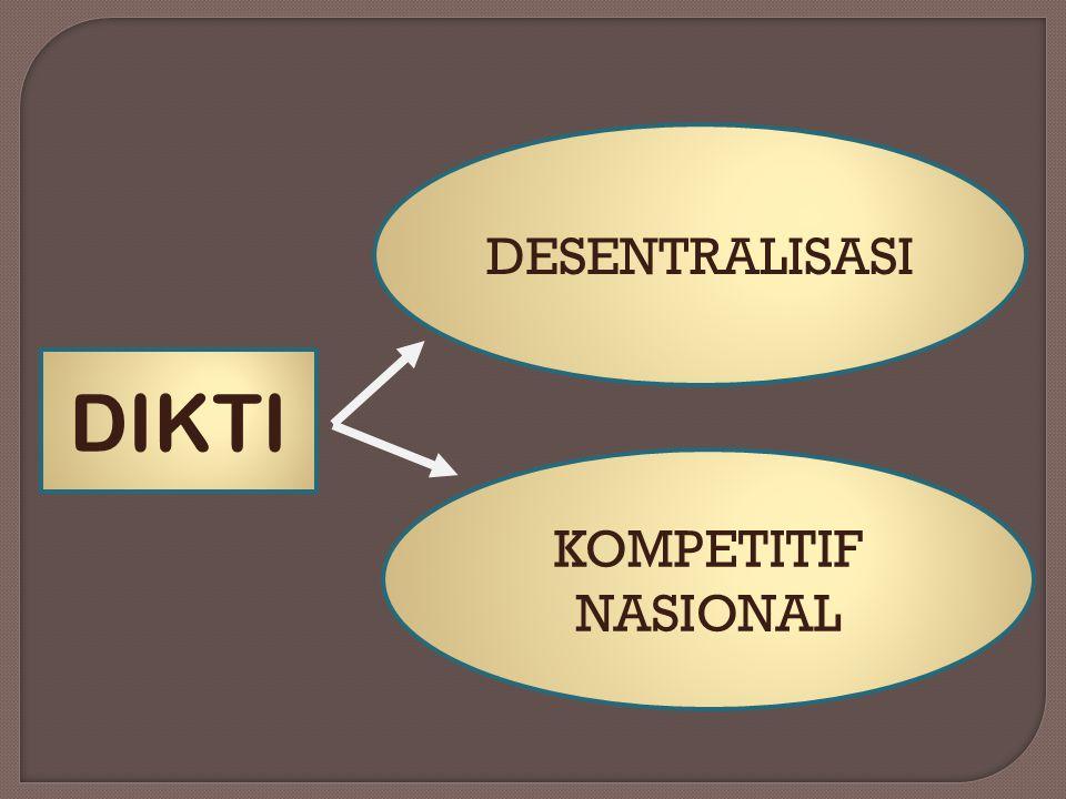 DESENTRALISASI DIKTI KOMPETITIF NASIONAL