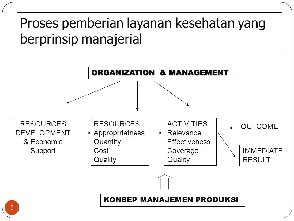 Proses pemberian layanan kesehatan yang berprinsip manajerial