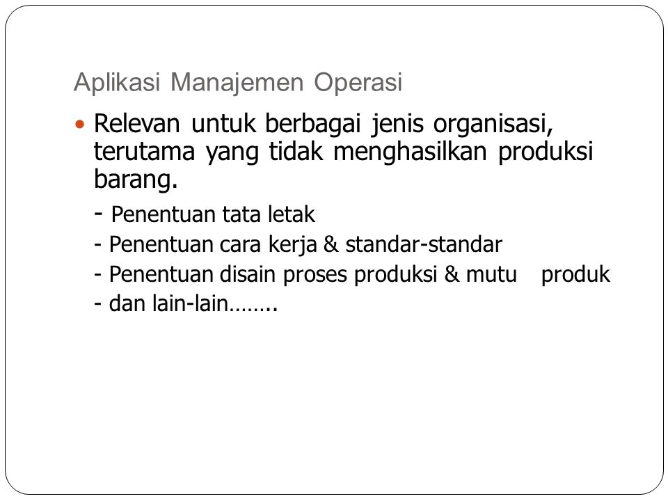 Aplikasi Manajemen Operasi