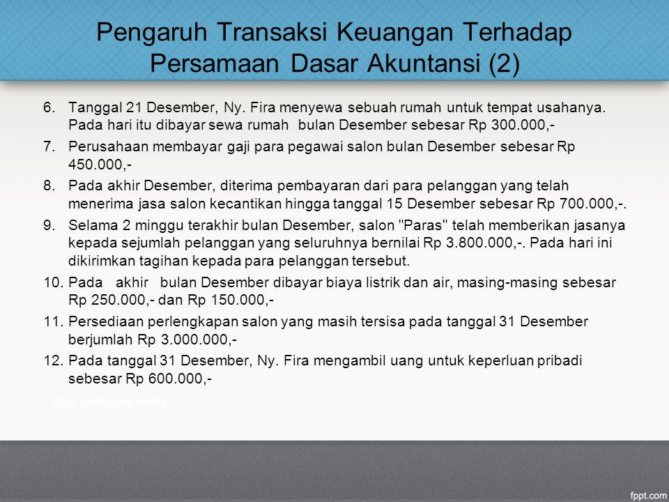 Pengaruh Transaksi Keuangan Terhadap Persamaan Dasar Akuntansi (2)