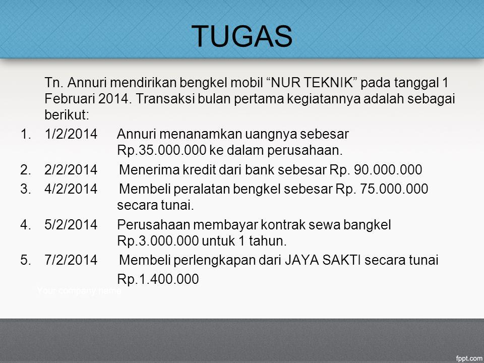 TUGAS Tn. Annuri mendirikan bengkel mobil NUR TEKNIK pada tanggal 1 Februari 2014. Transaksi bulan pertama kegiatannya adalah sebagai berikut: