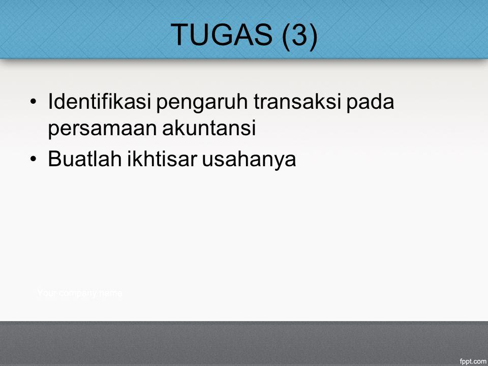 TUGAS (3) Identifikasi pengaruh transaksi pada persamaan akuntansi