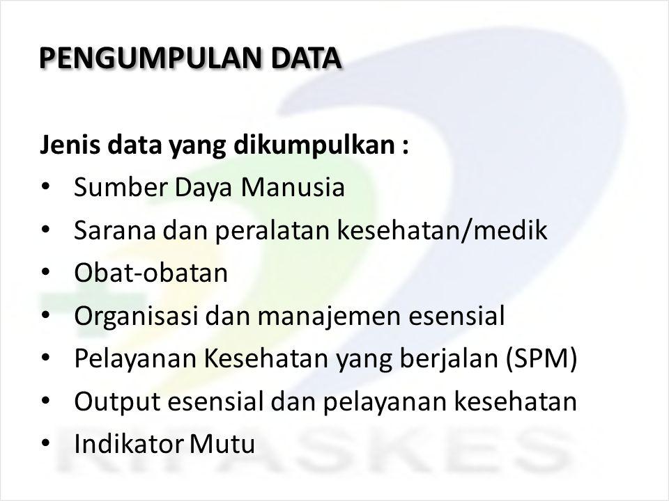 PENGUMPULAN DATA Jenis data yang dikumpulkan : Sumber Daya Manusia