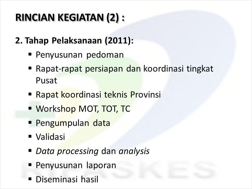 RINCIAN KEGIATAN (2) : 2. Tahap Pelaksanaan (2011): Penyusunan pedoman