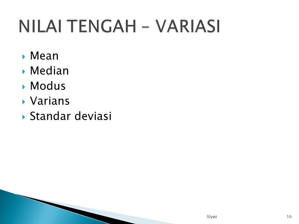 NILAI TENGAH – VARIASI Mean Median Modus Varians Standar deviasi