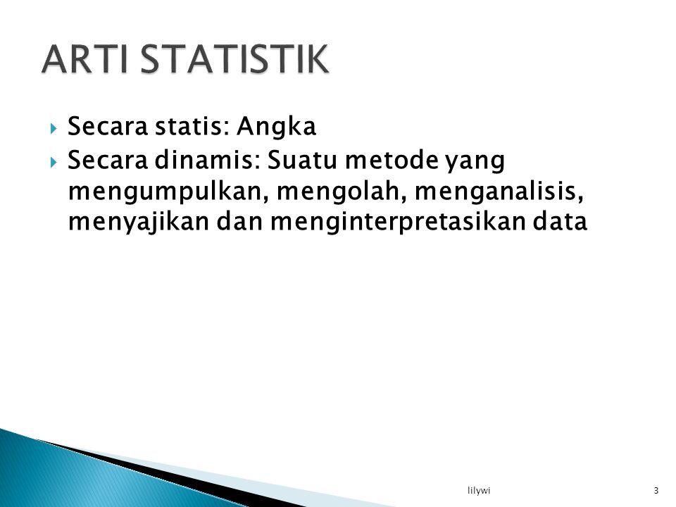 ARTI STATISTIK Secara statis: Angka