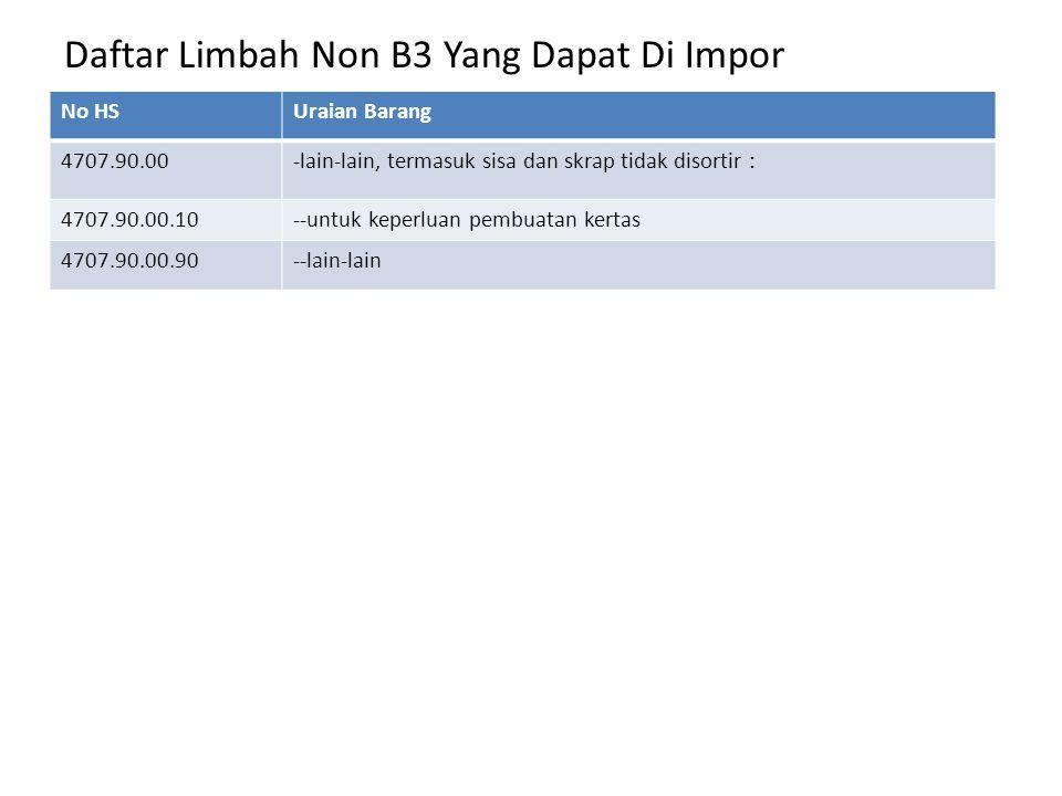 Daftar Limbah Non B3 Yang Dapat Di Impor