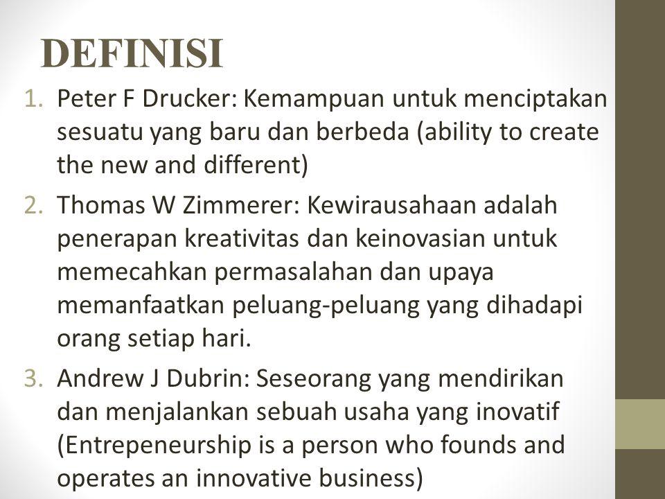 DEFINISI Peter F Drucker: Kemampuan untuk menciptakan sesuatu yang baru dan berbeda (ability to create the new and different)