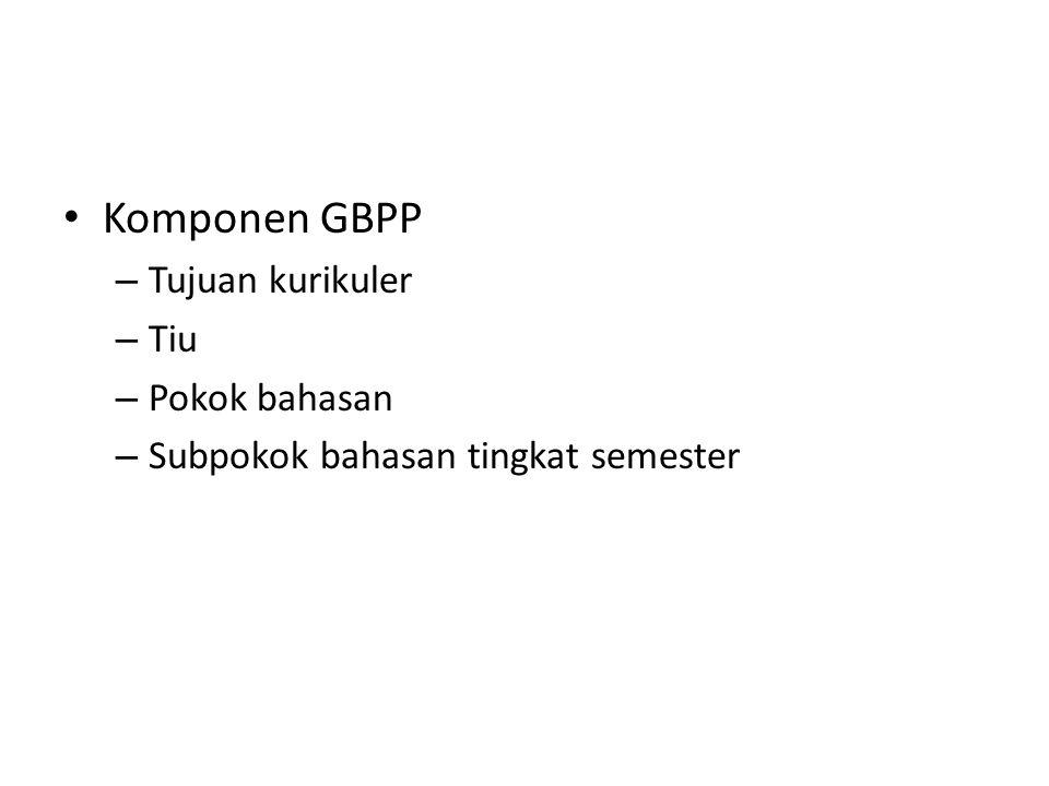 Komponen GBPP Tujuan kurikuler Tiu Pokok bahasan