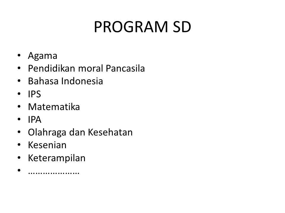 PROGRAM SD Agama Pendidikan moral Pancasila Bahasa Indonesia IPS
