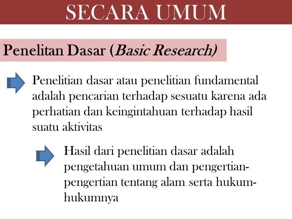 SECARA UMUM Penelitan Dasar (Basic Research)