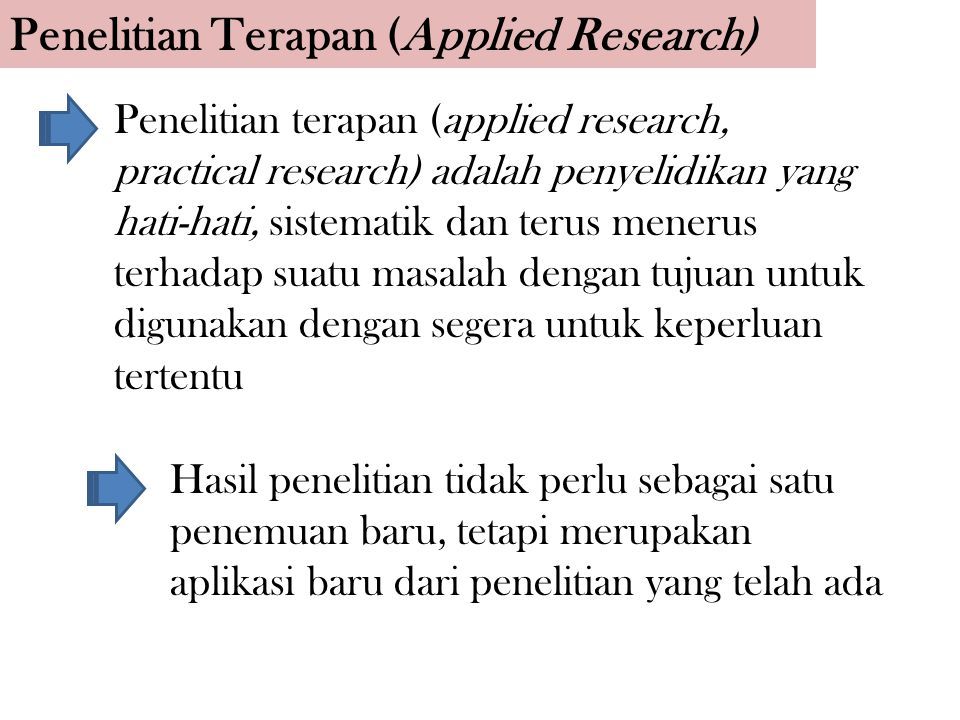 Penelitian Terapan (Applied Research)