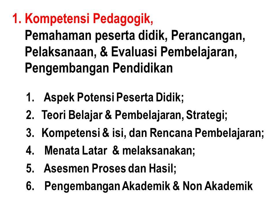 1. Kompetensi Pedagogik, Pemahaman peserta didik, Perancangan, Pelaksanaan, & Evaluasi Pembelajaran, Pengembangan Pendidikan