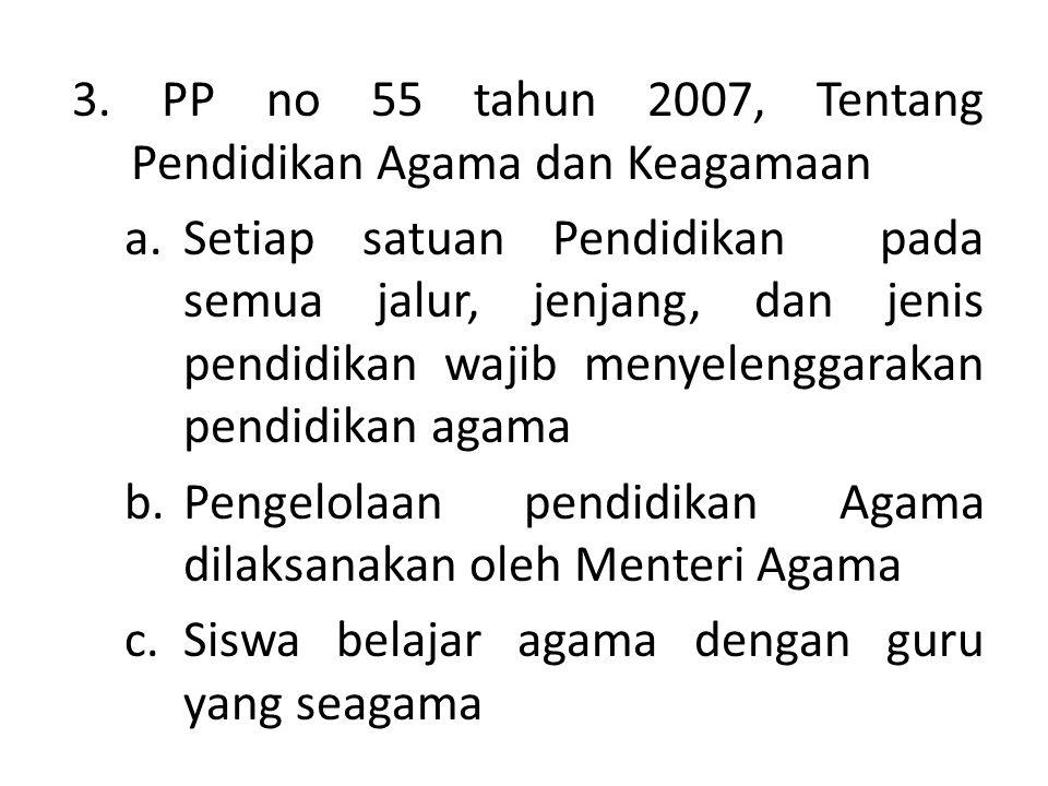 3. PP no 55 tahun 2007, Tentang Pendidikan Agama dan Keagamaan