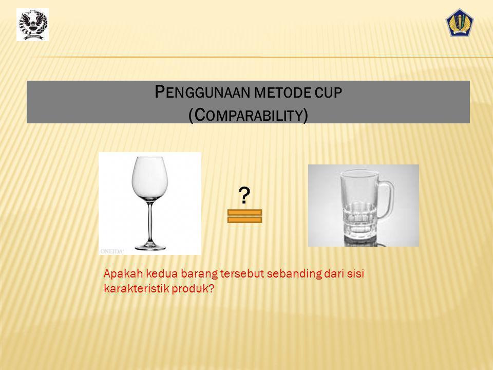 Penggunaan metode cup (Comparability)