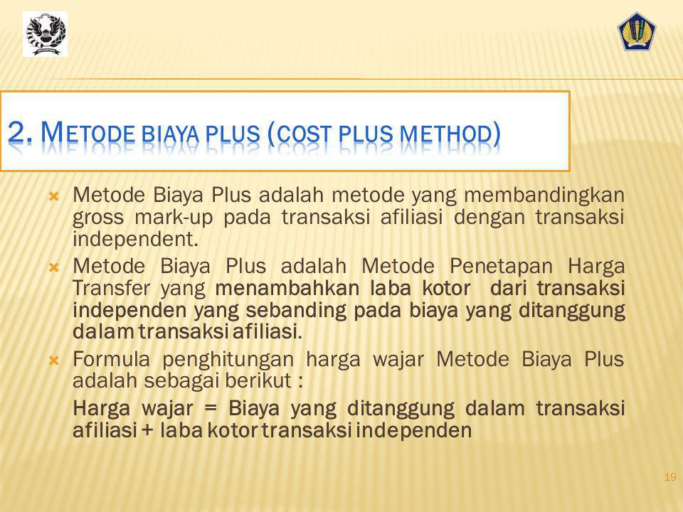 2. Metode biaya plus (cost plus method)