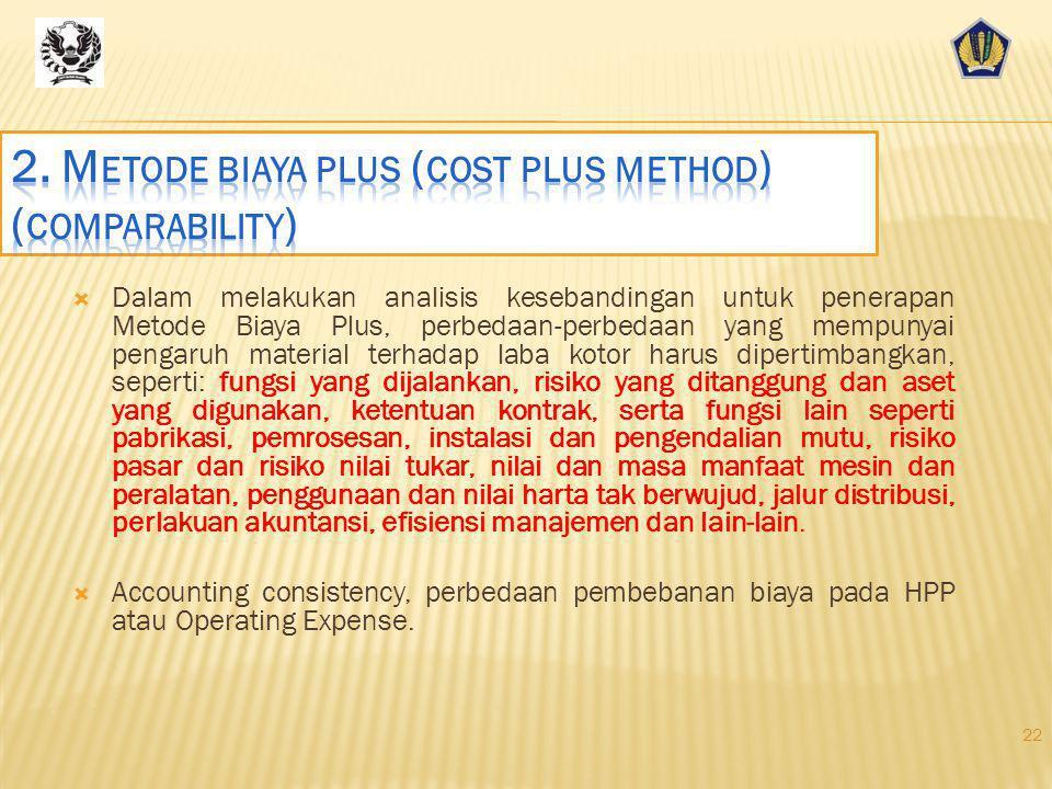 2. Metode biaya plus (cost plus method) (comparability)