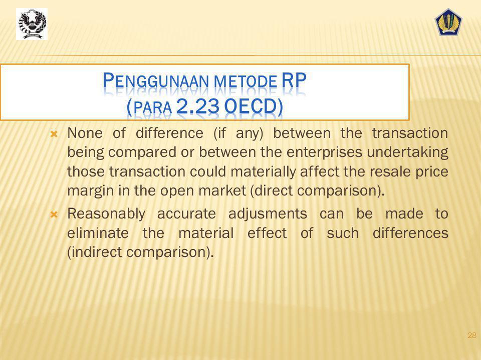 Penggunaan metode RP (para 2.23 OECD)