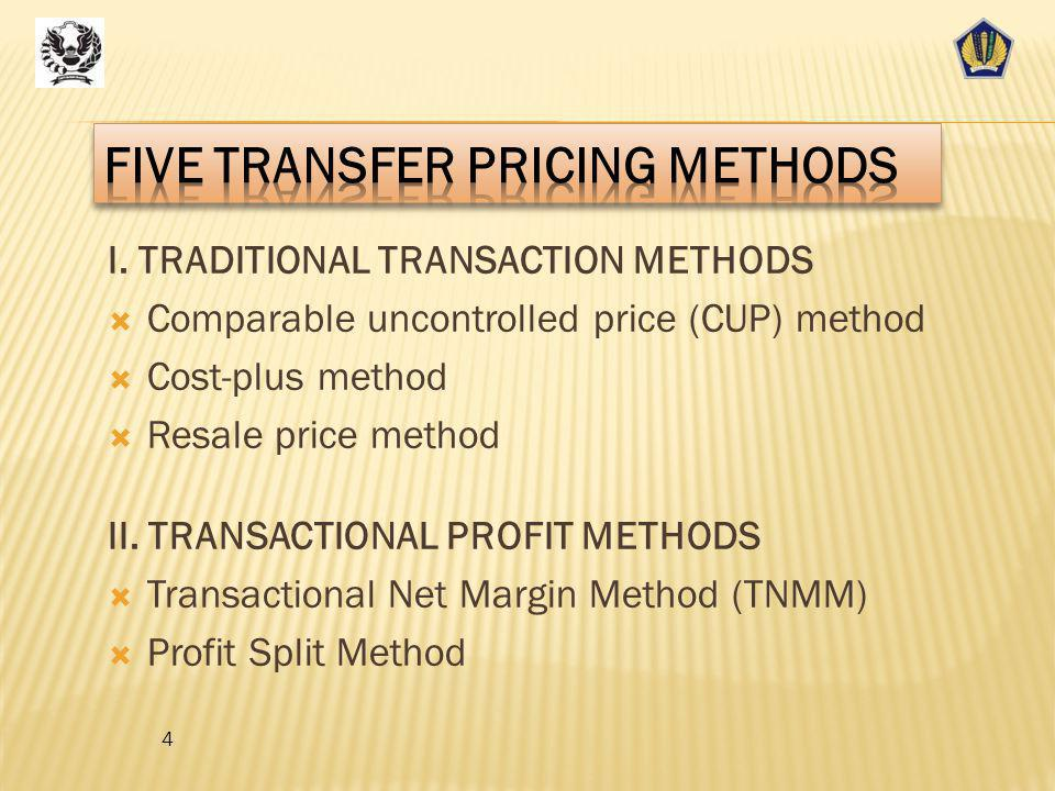 FIVE TRANSFER PRICING METHODS