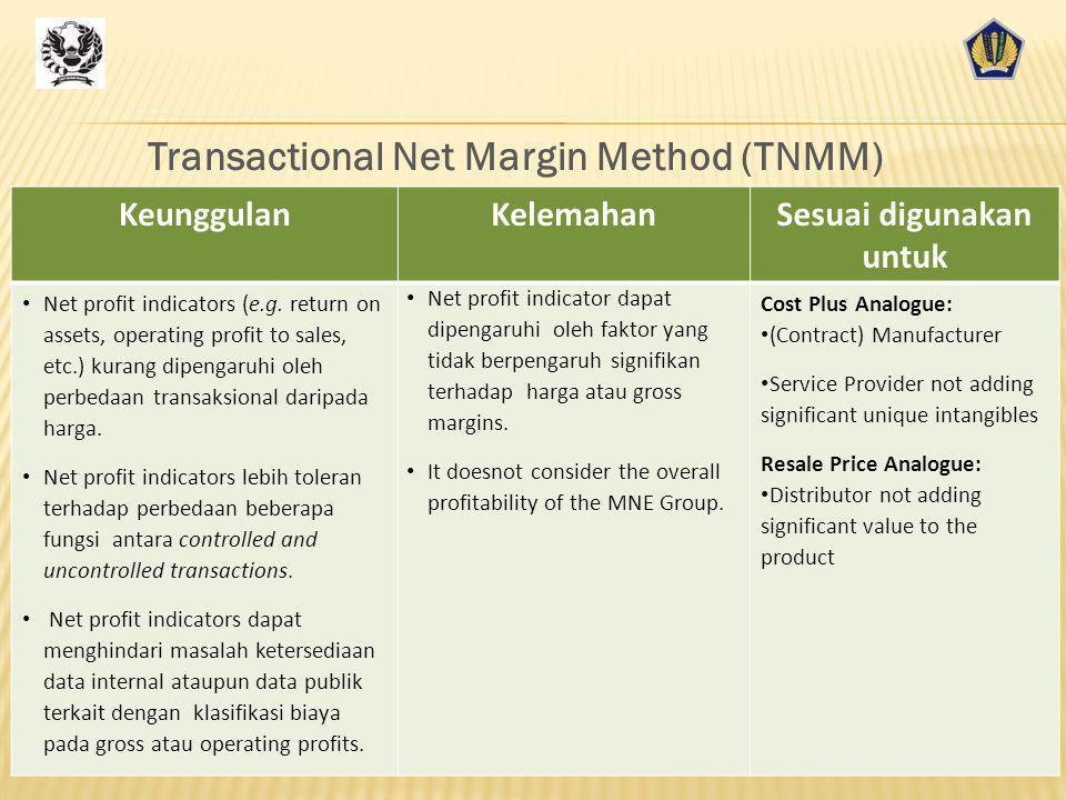 Transactional Net Margin Method (TNMM) Sesuai digunakan untuk