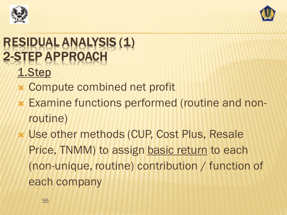 Residual Analysis (1) 2-step approach