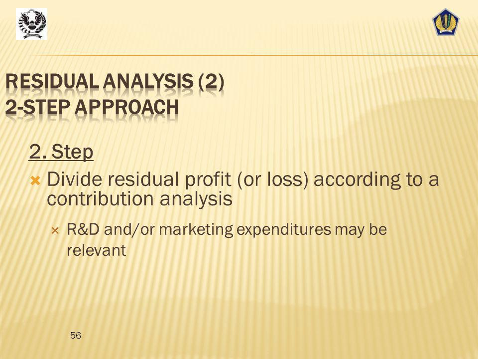 Residual analysis (2) 2-step approach
