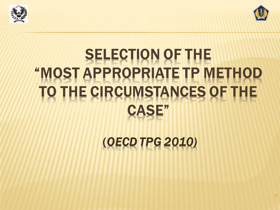 Selection of the most appropriate TP method to the circumstances of the case (OECD TPG 2010)