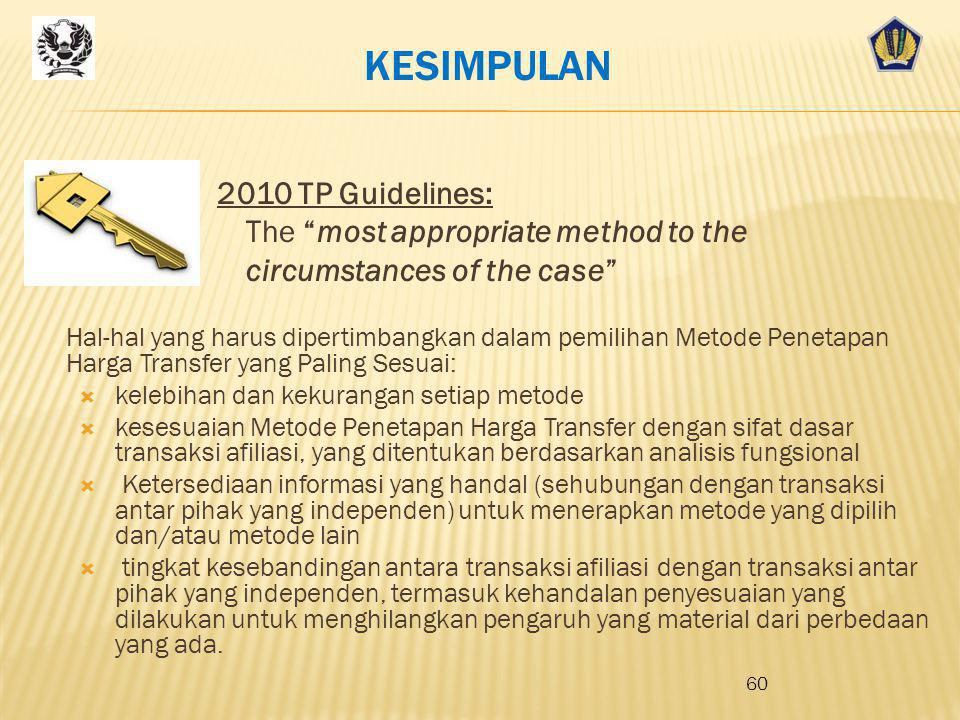 KESIMPULAN 2010 TP Guidelines: