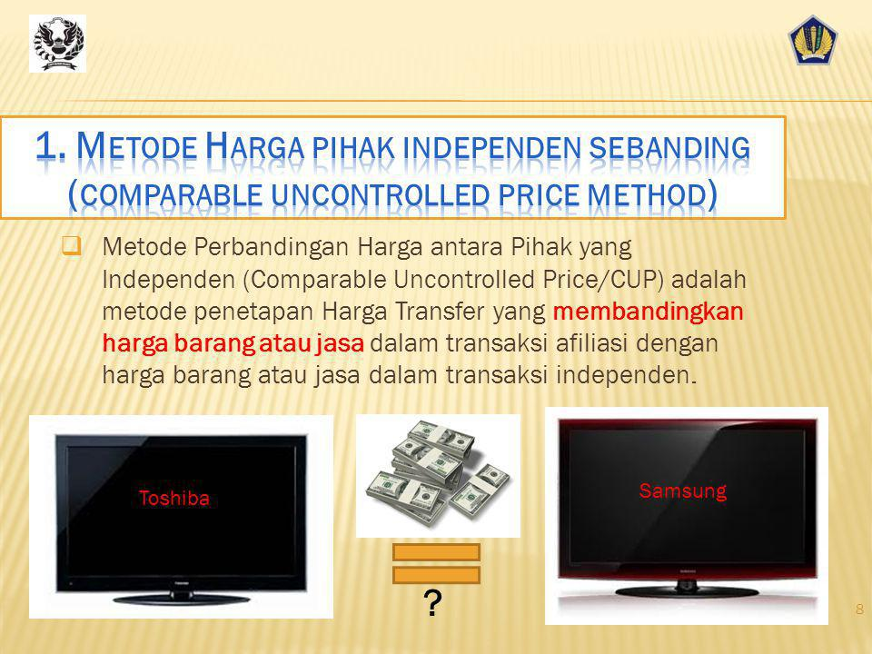 1. Metode Harga pihak independen sebanding (comparable uncontrolled price method)