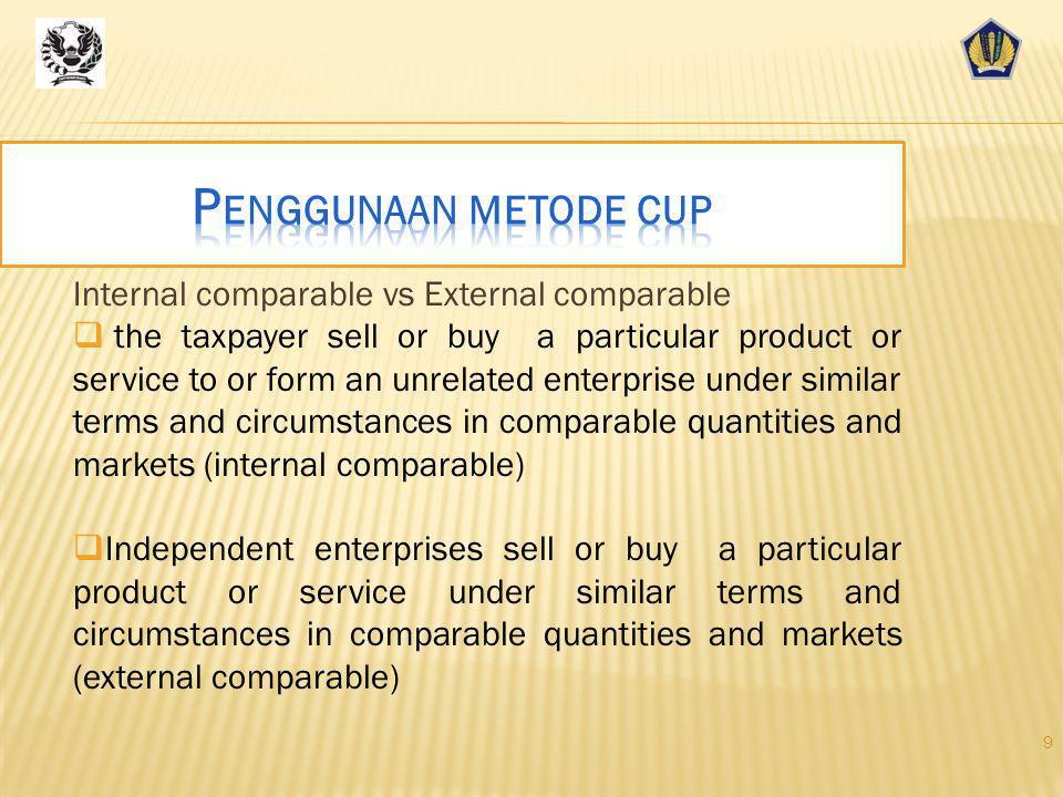 Penggunaan metode cup Internal comparable vs External comparable