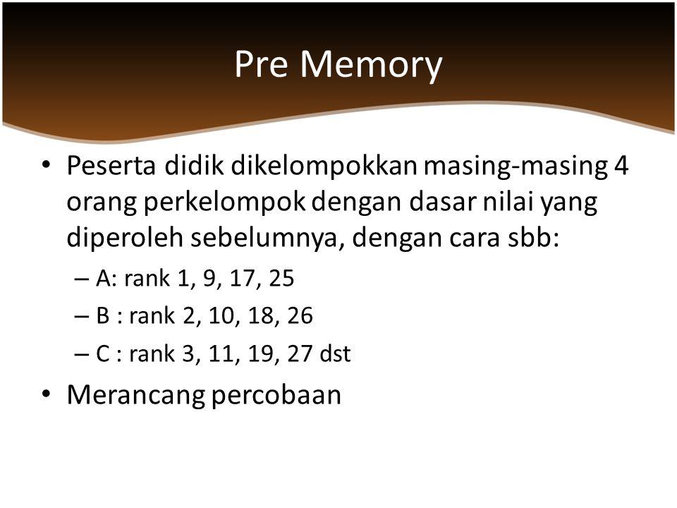 Pre Memory Peserta didik dikelompokkan masing-masing 4 orang perkelompok dengan dasar nilai yang diperoleh sebelumnya, dengan cara sbb: