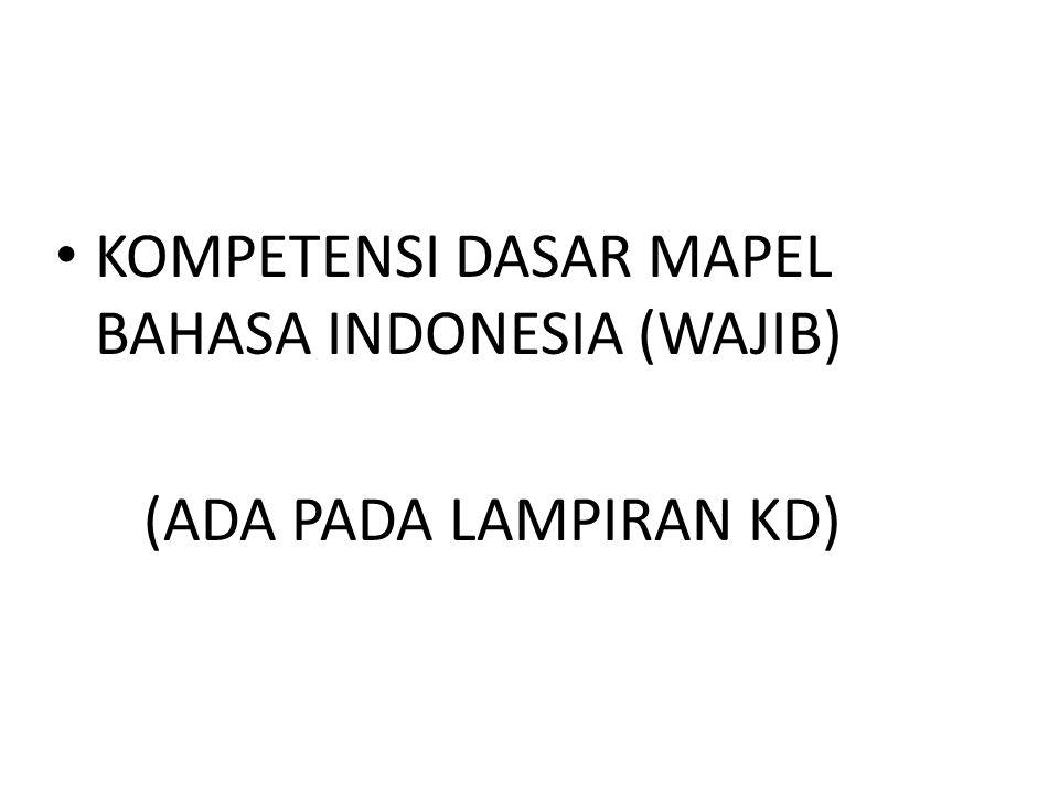 KOMPETENSI DASAR MAPEL BAHASA INDONESIA (WAJIB)