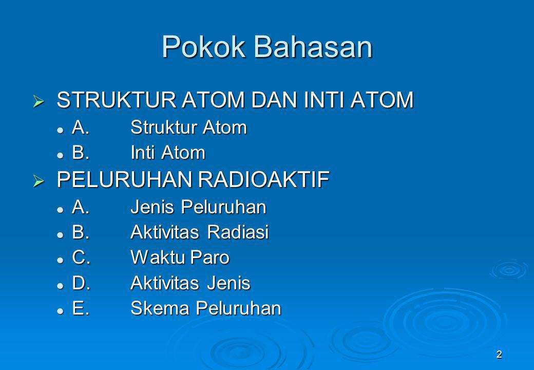 Pokok Bahasan STRUKTUR ATOM DAN INTI ATOM PELURUHAN RADIOAKTIF