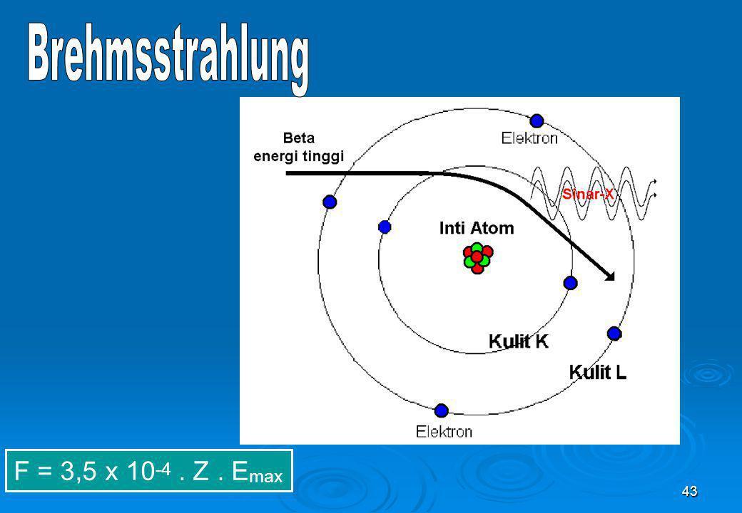 Brehmsstrahlung F = 3,5 x 10-4 . Z . Emax