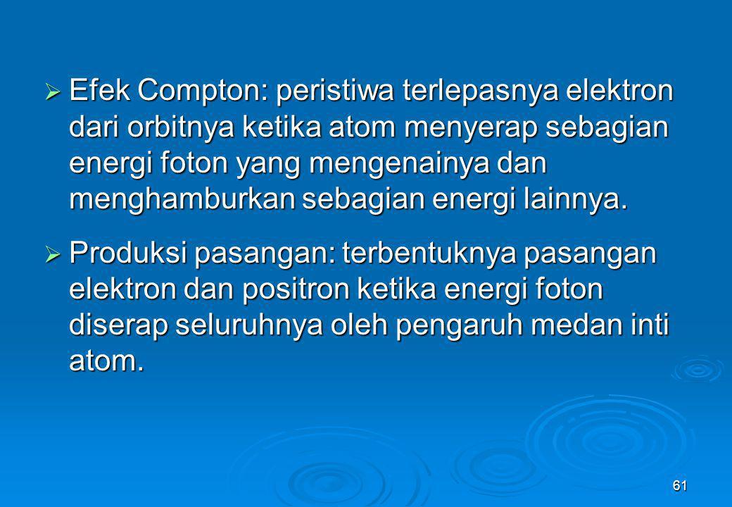 Efek Compton: peristiwa terlepasnya elektron dari orbitnya ketika atom menyerap sebagian energi foton yang mengenainya dan menghamburkan sebagian energi lainnya.
