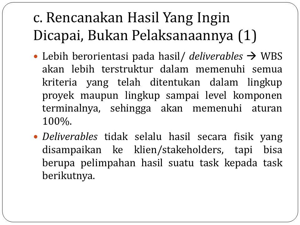 c. Rencanakan Hasil Yang Ingin Dicapai, Bukan Pelaksanaannya (1)