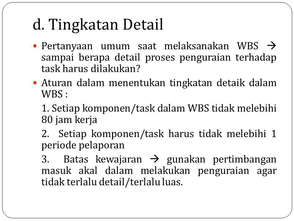 d. Tingkatan Detail Pertanyaan umum saat melaksanakan WBS  sampai berapa detail proses penguraian terhadap task harus dilakukan