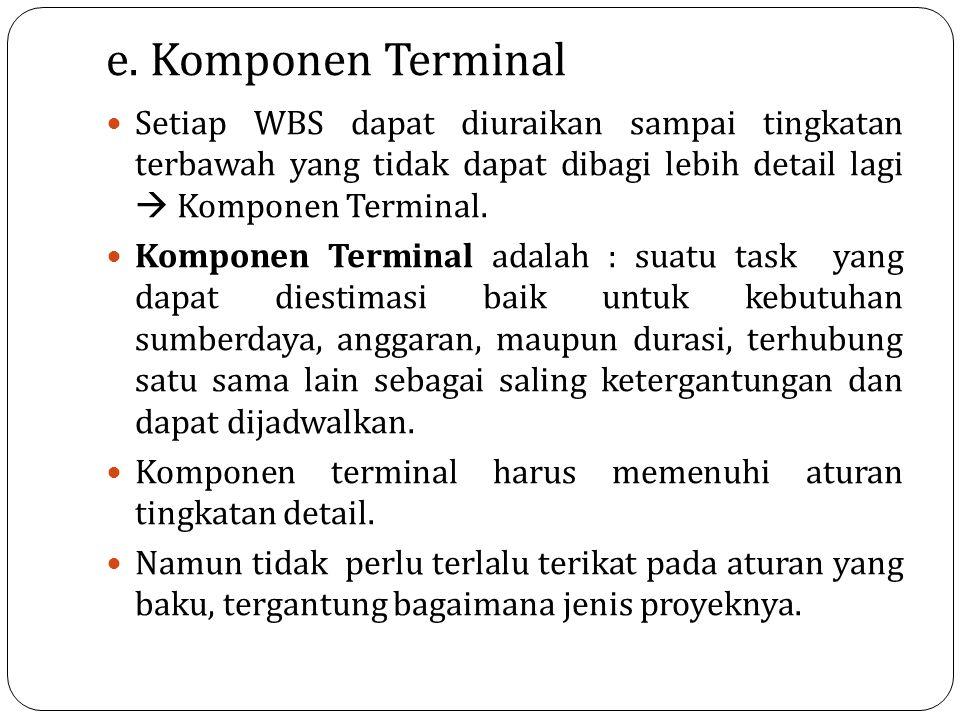 e. Komponen Terminal Setiap WBS dapat diuraikan sampai tingkatan terbawah yang tidak dapat dibagi lebih detail lagi  Komponen Terminal.